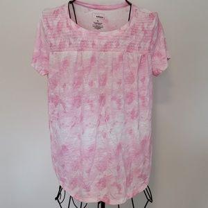 Croft & Barrow Smocked Pink Tie Dye Blouse